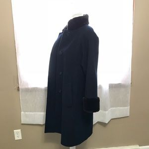 Jones New York Jackets & Coats - Jones New York Navy Blue Fur Pea Coat Dress Coat